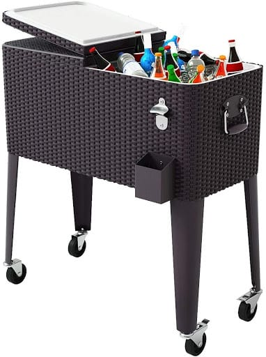 Giantex 80 Quart Rattan Beverage Roller Cart with drinks