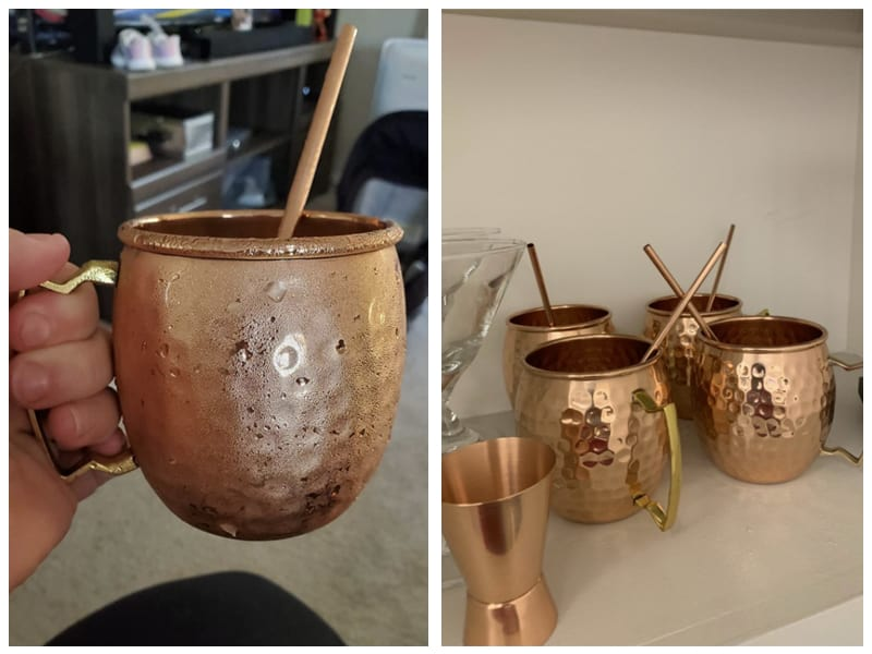 Gold Armour Moscow Mule Copper Mugs with Straw and Jigger Cutomer Review