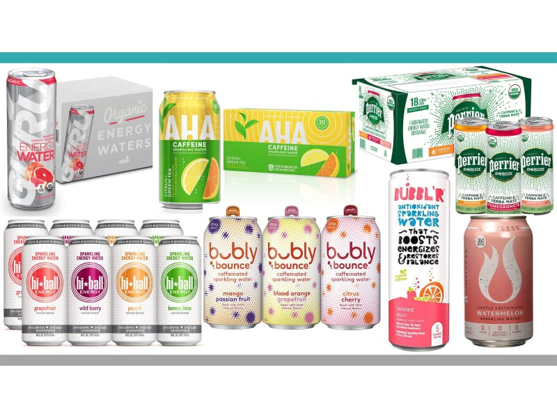 Group of caffeinated sparkling water
