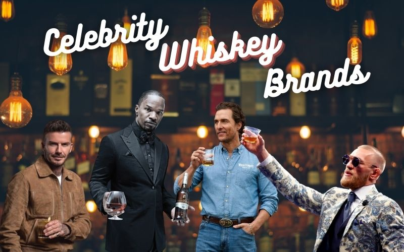 group of celebrities in a bar background