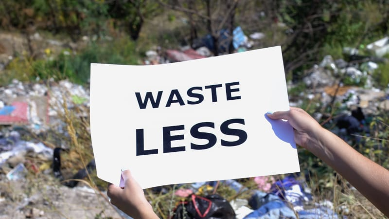 Hands holding Waste less Print