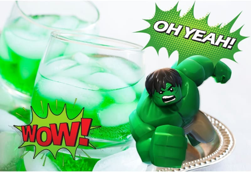 Incredible Hulk cocktails on a glass with the Incredible Hulk figurine