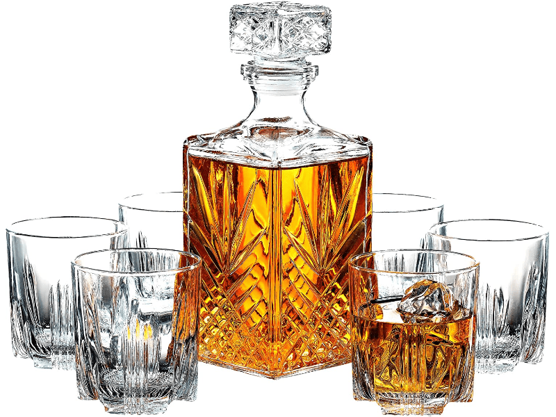 Italian Crafted Glass Decanter & Whisky Glasses Set 7-Piece