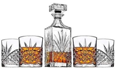 James Scott Crystal Decanter & Whiskey Glasses Set