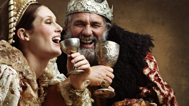 King and Queen Enjoying a Viking Mead Drink in a Cup