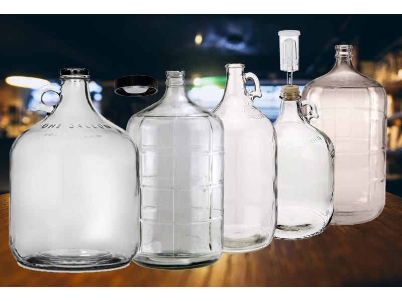 Best Carboys for Wine Making text with empty and filled carboys