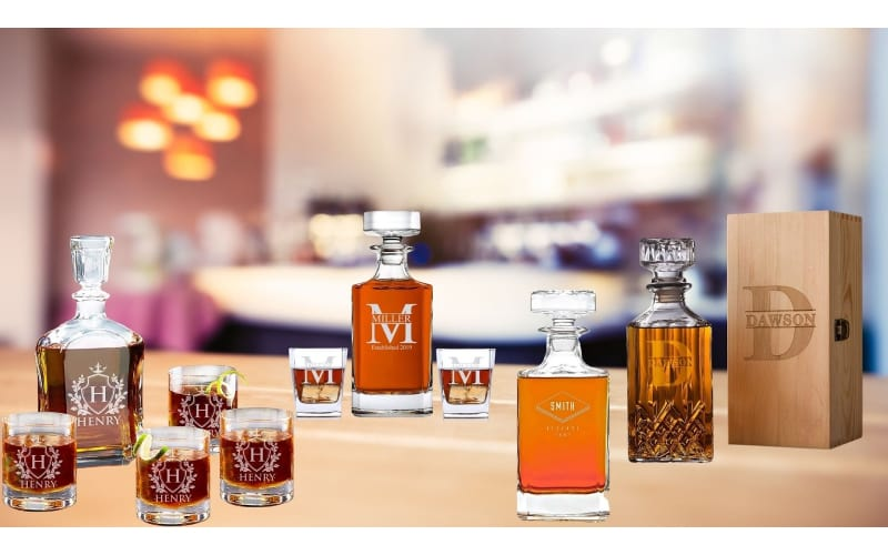 Various personalized whiskey set