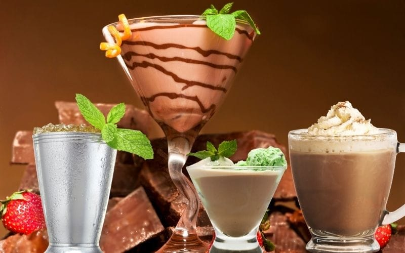 4 different Chocolate Cocktails with strawberries and cholate bars on the background