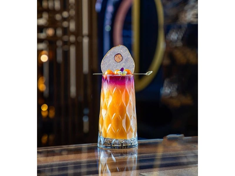 Mango Lavender cocktail in a tall glass
