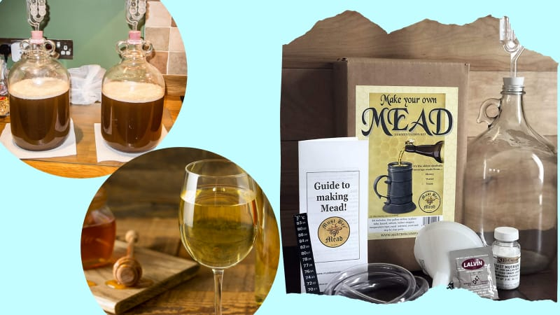 Mead making kit, mead in bottles and wine glass