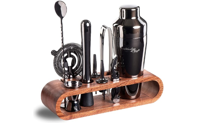 Mixology Bartender Kit by Mixology set with bar tools in a wooden stand
