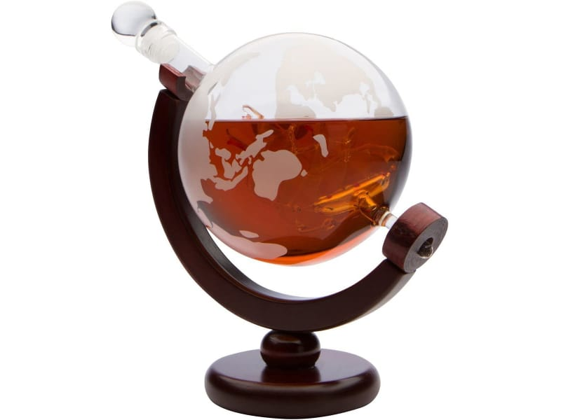Monterey Crystal 850ml Etched Globe Whiskey Decanter with Antique Ship and Dark Finished Wood Stand
