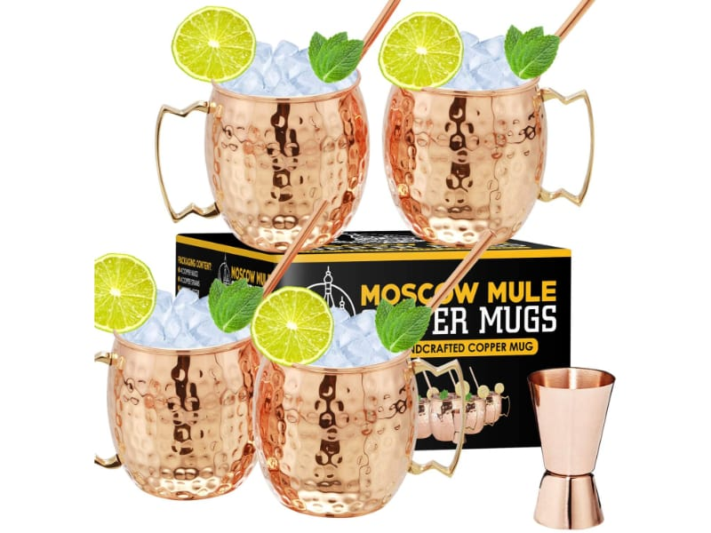 Gold Armour Moscow mule copper mugs set of 4 with a jigger