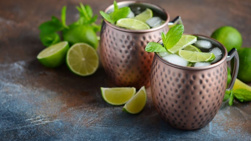 Moscow mule with fresh lime on a copper mug