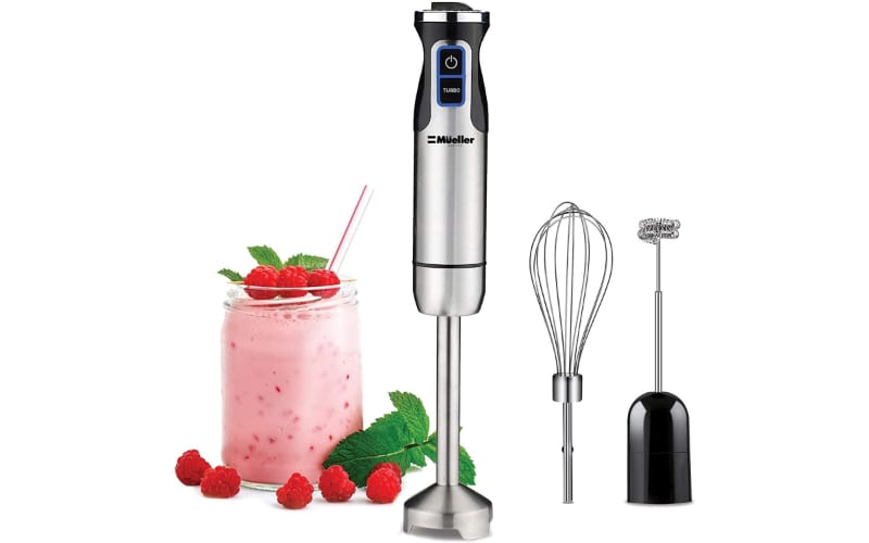 Mueller Austria Ultra-Stick Immersion Blender with a glass of smoothie
