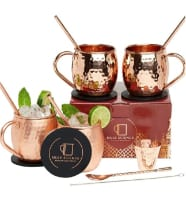 Mule Science copper mug set with a shot glass and copper straw