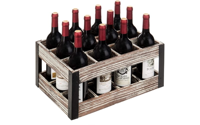 MyGift Rustic Metal & Wood Crate with wine bottles