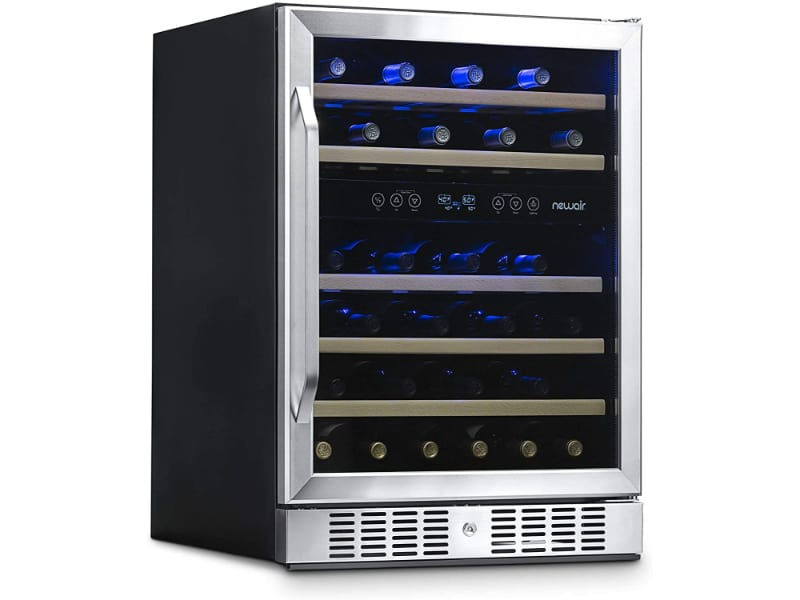 NewAir AWR-460DB Wine Cooler with wine bottles