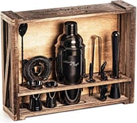 Perfect Home Bartending Kit with other bar tools stored in a wooden crate