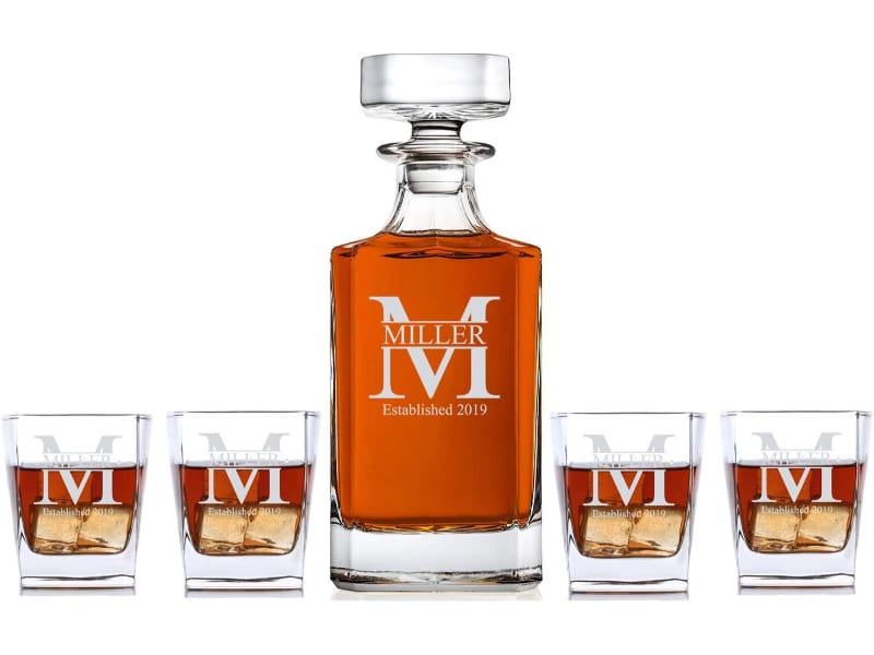 Personalized 5-piece Whisky Decanter Set with whiskey