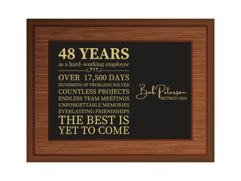 Personalized Wood Engraved Retirement Sign