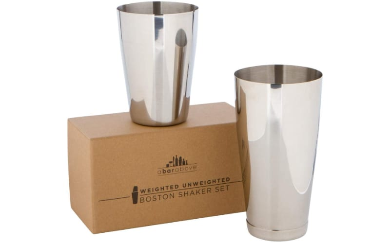 Top Shelf Bar Supply Premium Cocktail Shaker Set with two shakers and a gift box