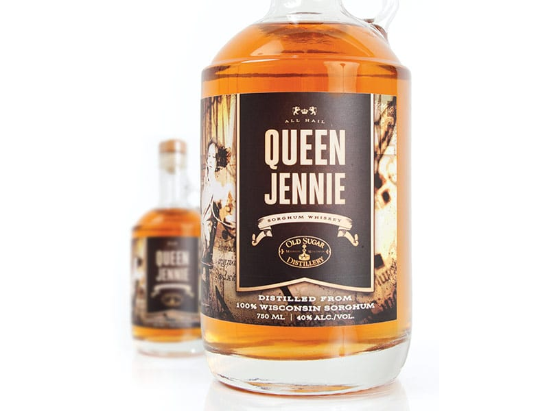 A bottle of Queen Jennie Sorghum Whiskey