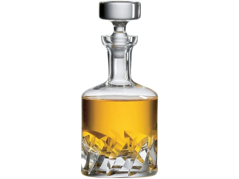 Ravenscroft Crystal Beveled Blade Container with whiskey