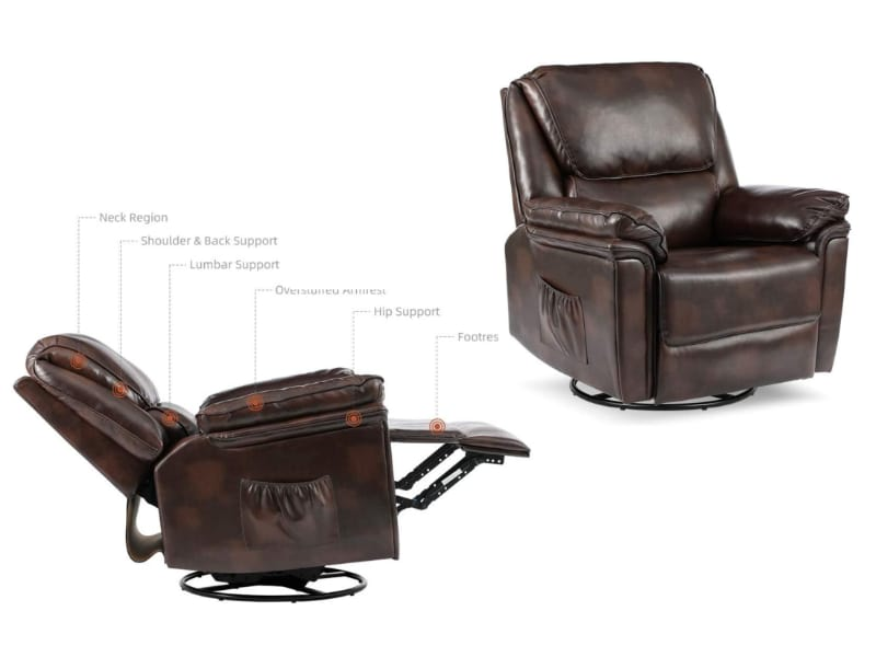Reclining Lounge Chair with Massage and Lumbar Heating