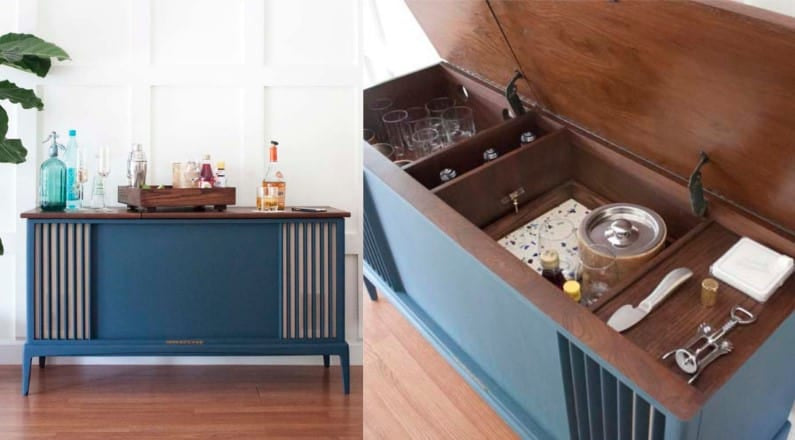 Stereo Player Cabinet Wet Bar - Image by Southernrevivals.com