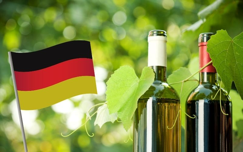 red and white wine bottle with Germany's flag