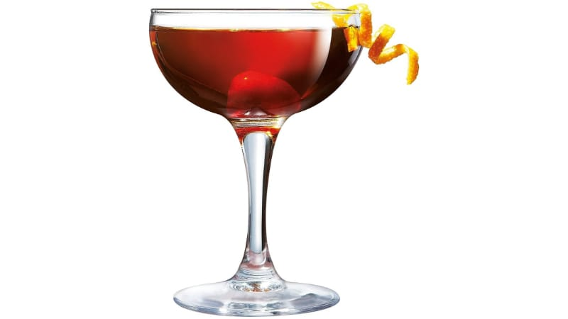 Red Boulevardier Cocktail in a Coupe Glass