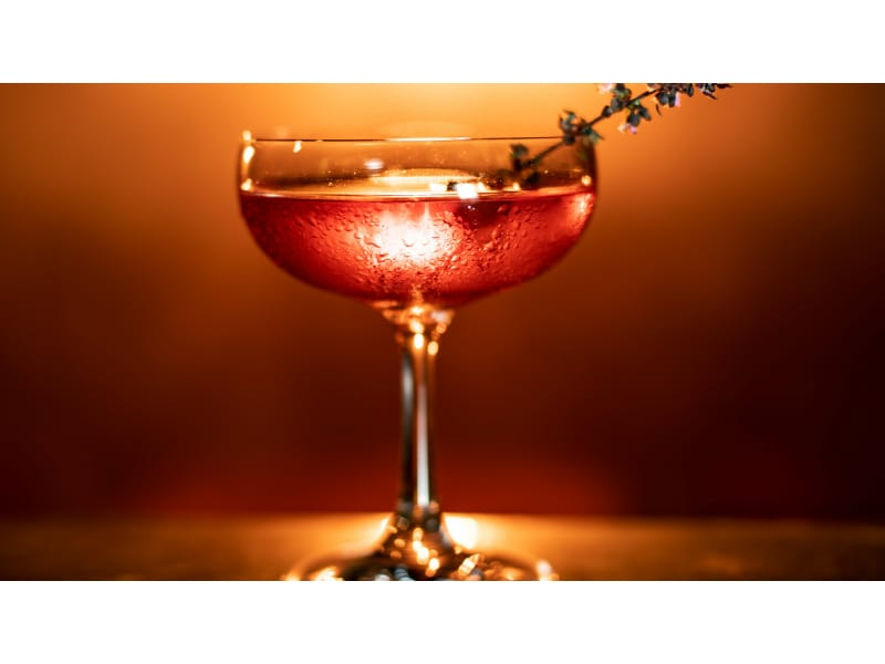Red Cocktail in Coupe Glass with Sprig Garnish