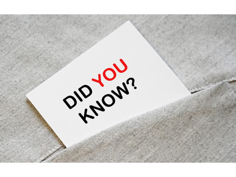 Did you know phrase on white sticker in the shirt pocket