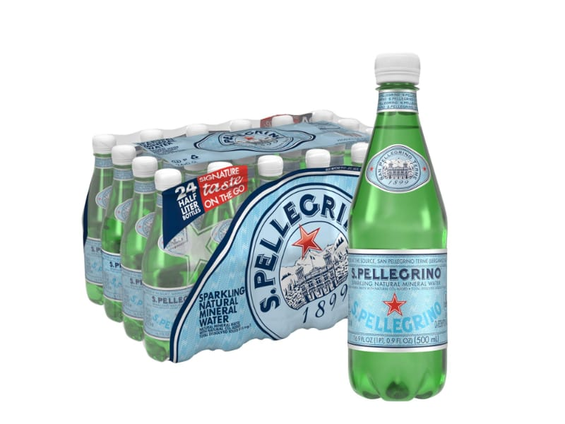 A bottle of San Pellegrino sparkling water with its nutritional facts