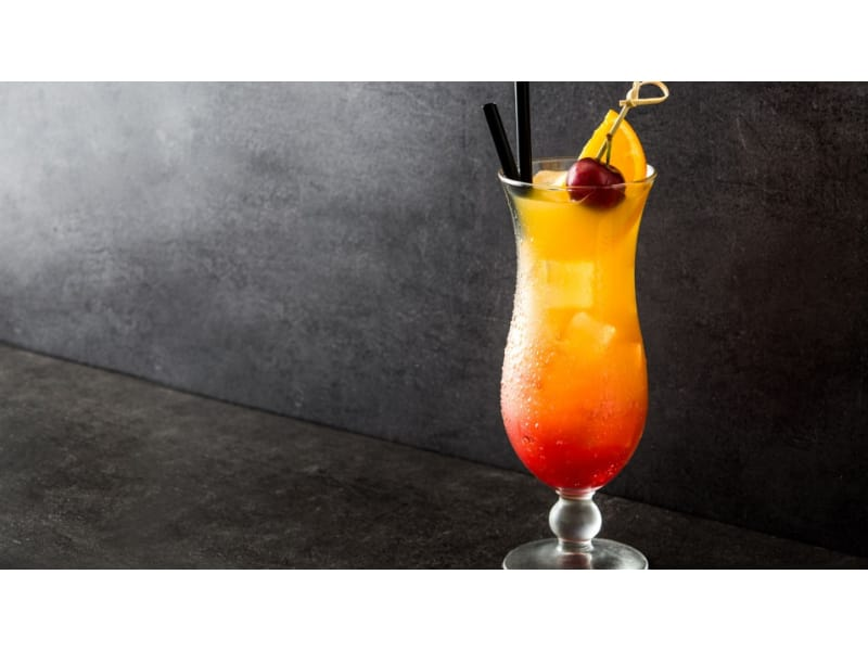 Sex on the Beach cocktail with orange and raspberry