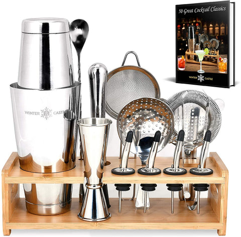 Silver Pro Cocktail Shaker Set by WinterCastle-The 18 piece Ultimate Bartender Kit - AdvancedMixology