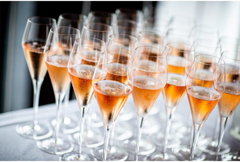 Sparkling wine in tulip glasses