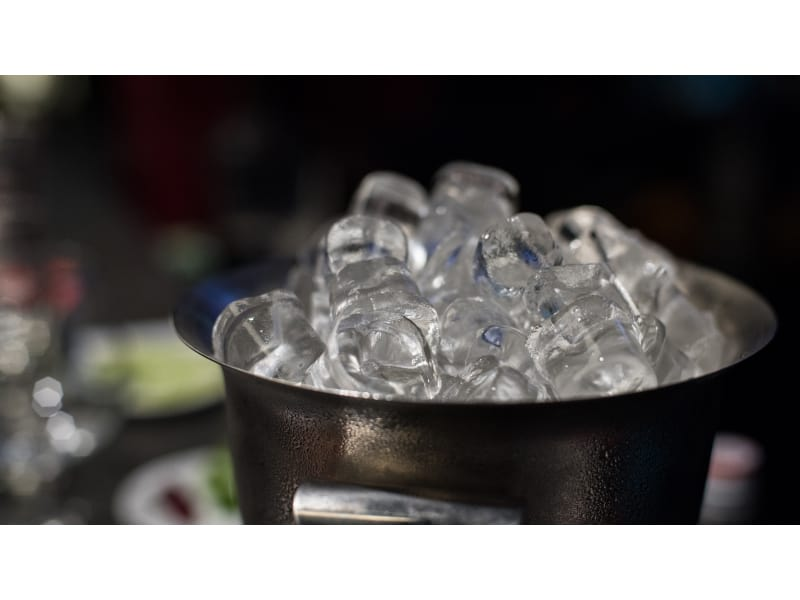 Stainless steel ice bucket with ice