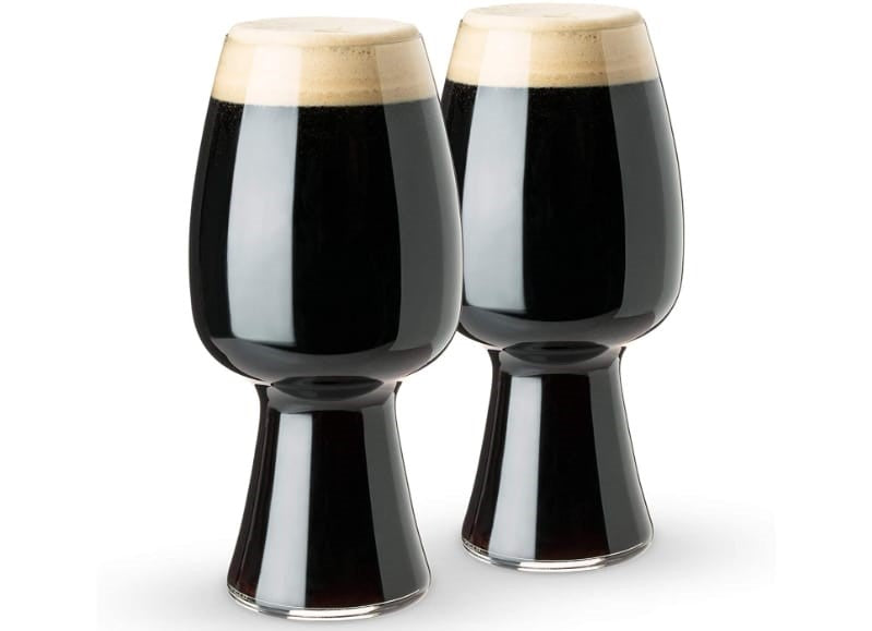 Two stout glasses filled with beer