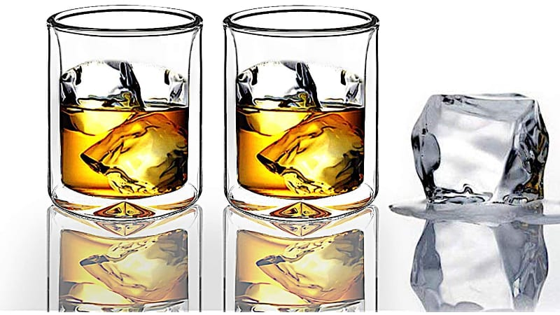 Sun's Tea Strong Double Wall Whiskey Glasses with ice cubes