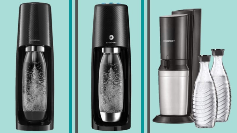 Three SodaStream machines separated by borders