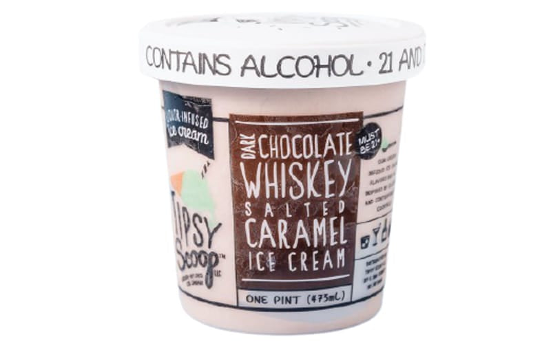 Tipsy Scoop Dark Chocolate Whiskey and Salted Caramel