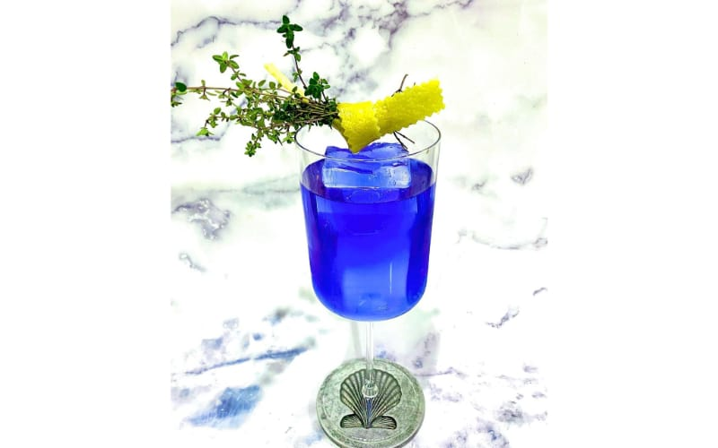 Tongue Tied cocktail in blue