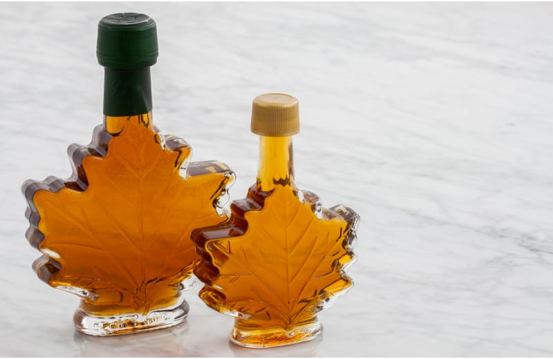 Two bottles of delicious maple syrup