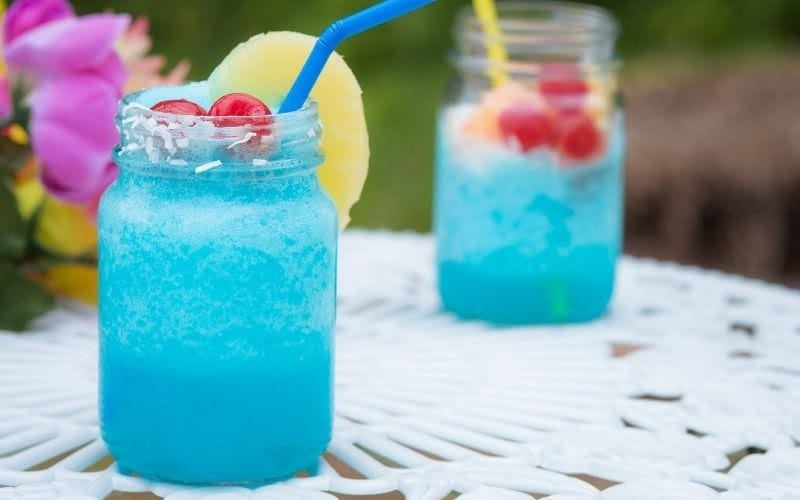two glasses of Blue Daydream