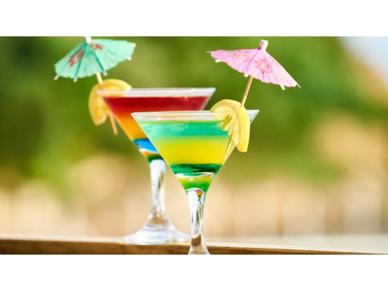 Two martini glasses with cocktails