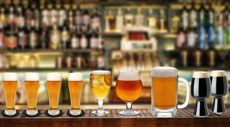 Various beer glasses to choose from
