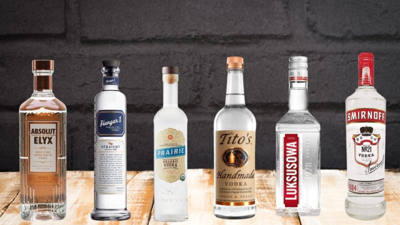 Various brands of vodka to choose from