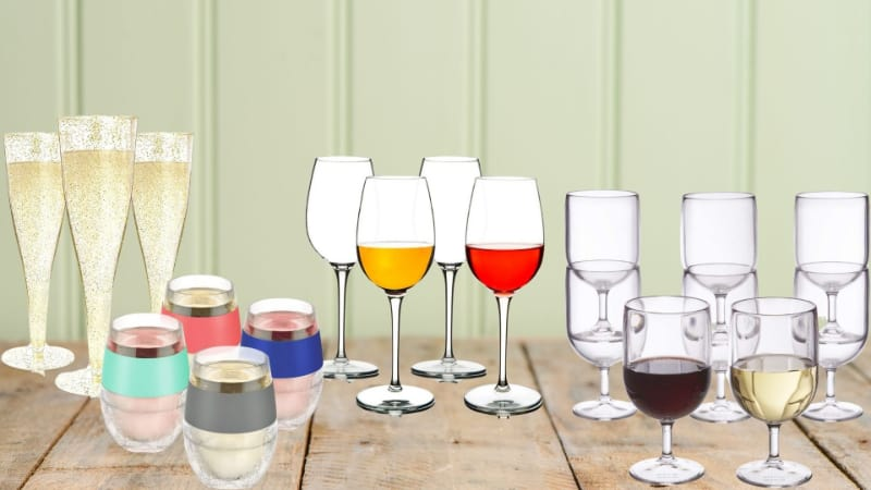 Various plastic wine glasses to choose from